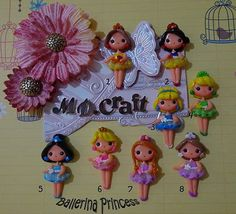 Set of Ballerina Princess Polymer Clay Charm Bead Scrapbooking Embelishment Bow Center Pendant Cupcake Topper