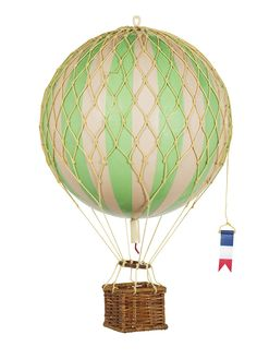True Green Royal Aero - Hot Air Balloon Model - Features Hand-Knotted Netting and Rattan Basket - Authentic Models - Height 22 inches, Diameter inches Balloon Basket, Balloon Modelling, Balloon Flights, Air Ballon, Hanging Mobile, Rattan Basket, Helium Balloons, Diy Hot Air Balloons, Modern Homes