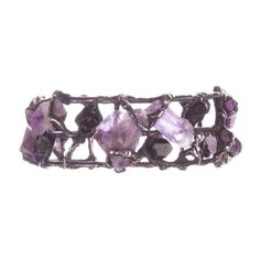 Pre-owned Brutalist Amethyst and Black Tourmaline Bracelet featuring polyvore, fashion, jewelry, bracelets, amethyst, jewelry-bracelets, purple, amethyst jewelry, cuff bangle, cuff bangle bracelet, adjustable bangle and wide cuff bracelet