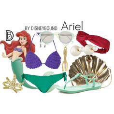 Ariel by leslieakay on Polyvore featuring Dorothy Perkins, River Island, IPANEMA, Allurez, Christian Dior, disney, swimwear, disneybound and disneycharacter