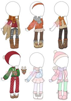 Custom Outfits Info Custom outfits belonging to EmmieStitch~ She wanted the first set to be for autumn, and the second set for winter. Manga Clothes, Drawing Anime Clothes, Kawaii Clothes, Kawaii Drawings, Cute Drawings, Character Outfits, Character Art, Clothing Sketches, Cute Art Styles