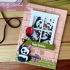 Home - GaGa Papercrafts Panda Birthday, Kids Birthday Cards, Bear Card, Panda Party, Window Cards, Stampinup, Beautiful Handmade Cards, Shaker Cards, Animal Cards