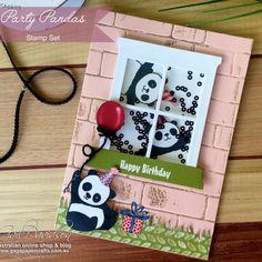 Home - GaGa Papercrafts Panda Birthday, Kids Birthday Cards, Bear Card, Panda Party, Window Cards, Stampinup, Beautiful Handmade Cards, Shaker Cards, Animal Cards