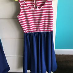 Pink and blue stripes dress Beautiful sundress. Pink and white stripes top, with a flowy blue bottom. Worn a couple of times, in great condition. Dresses