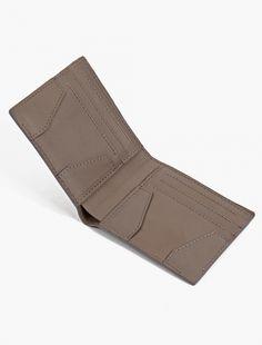 Bonastre,Taupe Leather Billfold Wallet,BLUE,3
