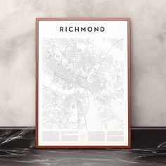 The street pattern and background story of Richmond, Virginia, together creates this incredibly interesting and beautiful map print. With its elegant and timeless design, this city article will be a clear improvement to any home or office interior.  Encyclopaedia Urbana is a print collection of cities with beautiful street patterns, all around the world. The articles are printed on high-quality, durable art print paper. These two sizes are available:  • Imperial: 18x24 inches (approx. 46x61…