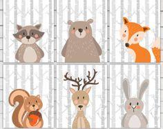 Ensemble de Woodland Animal art printables par HappyFoxDesign