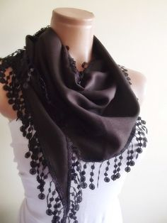 Pashmina scarf with lace christmas gift for her by smilingpoet, $12.90