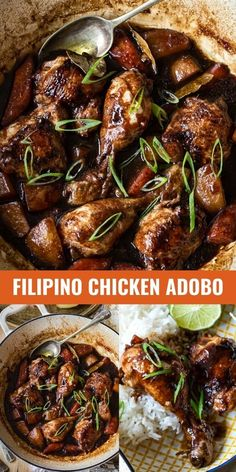 "This Filipino Chicken Adobo is a definite step away from ""the same old""! Chicken thighs and drumsticks braised in pungent vinegar and soy sauce with an addition of garlic and ginger. Just regular pantry staples produce an unforgettable flavour."