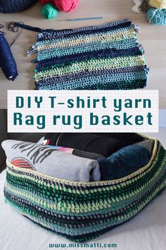 Let's upcycle & make a rag rug inspired square shaped storage basket by using scrap yarn and t-shirt yarn made from your old t-shirts!   This is a great upcycle and #makeyourstash project as you can create something beautiful out of your old clothing, as well as using up the leftover yarns that you already have in your stash. As such they are not only an attractive storage solution - they also do not cost anything to make expect your time! Diy Crochet Rag Rug, Crochet T Shirts, Recycled T Shirts, Old T Shirts, T Shirt Yarn, T Shirt Diy, Old Clothes, Storage Baskets, Yarns
