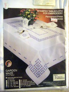 Tablecloth Stamped Embroidery Tablecloth Kit - Tobin Garden Maze style x -Embroidery kit -Designs By Willowcreek on Etsy by DesignsByWillowcreek on Etsy Dmc Embroidery Floss, Embroidery Kits, French Country Cottage, Little Flowers, Maze, Needlework, Garden Design, Crafty, Designs