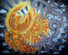Conté pastel pencils on x black paper. A great silver dragon births a phoenix from his fiery breath, as they fly around a sun m. Phoenix and Dragon Sun Mandala, Mandala Art, Acrylic Wall Art, Wood Wall Art, Yin Yang, Poster Home, Phoenix Artwork, Phoenix Dragon, Mythical Birds