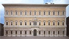 The Palazzo Farnese by Saugallo.  - most important high Renaissance places in Rome.  - owned by the Italian republic, given to the French gov.  - contains some of the best art from the most famous artists during that time.