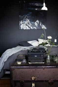 Black interiors with rustic finishes