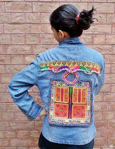 Vintage Ethnic Kuchi Upgraded Afghan Hippie Boho DENIM *Blue Qi Er* Jeans Jacket