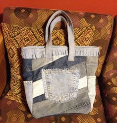 Tote made from old jeans (Sold)