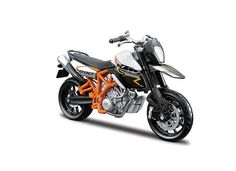 Bburago 1:18 KTM 990 Diecast Model Motorcycle 18-51050 This KTM 990 Supermoto R (2011) Diecast Model Motorcycle is White and Orange and features working steering, wheels. It is made by Bburago and is 1:18 scale (approx. 11cm / 4.3in long). #Bburago #ModelMotorbike #KTM #MiniModelBikes