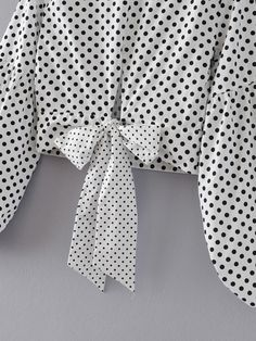 Lantern Sleeve Polka Dot Bow Tie Back Top -SheIn(abaday)
