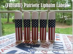 from My Computer is My Canvas: {FREEBIE} Patriotic Lipbalm Labels fun for kids! Bee Crafts, July Crafts, Paper Crafts, Patriotic Crafts, Memorial Day Flag, Lip Balm Labels, Fun Party Games, Party Ideas, Lip Balm Recipes