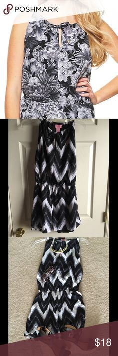Keyhole Romper Black & White Chevron Medium She's Cool fully lined romper featuring a self-tie keyhole neck, allover print, and a cinched Waite.  2 inch inseam. 100% Polyester. NO TRADES! I accept REASONABLE OFFERS ONLY! ❤️Bundle & save 15%❤️ She's Cool Pants Jumpsuits & Rompers