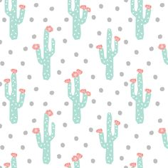 cactus floral flower cacti flowers pink and mint grey and mint and pink  fabric by charlottewinter on Spoonflower - custom fabric