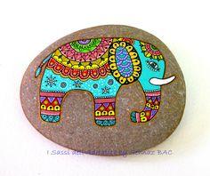 Hand Painted Stone (Adriatic Sea)  Elephant by I Sassi dell'Adriatico