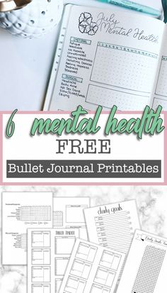 Free Printable Mental Health Bullet Journal Spreads ⋆ The Petite Planner - - Depression and anxiety are tough. I hope these mental health bullet journal printables can help you regain your identity and feel confident again. Bullet Journal Printables, Journal Template, Bullet Journal Ideas Pages, Bullet Journal Inspiration, Journal Prompts, Journal Pages, Bullet Journal Ideas Templates, Journal Themes, Junk Journal