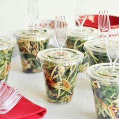 The Chic Site - This would be a fun way to serve salads at a backyard party. - The Chic Site - This would be a fun way to serve salads at a backyard party. The Chic Site - This would be a fun way to serve salads at a backyard par. Snacks Für Party, Bbq Party, Party Appetizers, Party Salads, Make Ahead Cold Appetizers, Fish Fry Party, Individual Appetizers, Baby Shower Appetizers, Kid Snacks
