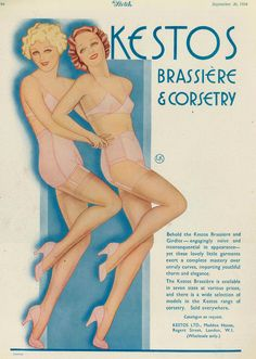 """These lovely garments...impart youthful charm and elegance."" adv Kestos 1934"