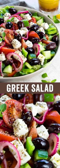 This Greek salad is a healthy vegetable packed appetizer drizzled with a homemade red wine vinegar dressing. Each serving contains creamy feta cheese, kalamata olives, tomatoes, bell peppers, cucumbers and red onion. #greeksalad #greekfood #feta