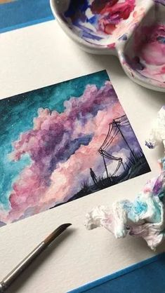 Watercolor Clouds Painting // // This image has get 55 rep. Watercolor Clouds Painting // // This image. Watercolor Clouds, Easy Watercolor, Floral Watercolor, Painting Clouds, Watercolor Illustration, Painting Art, Tattoo Watercolor, Watercolor Animals, Watercolor Background