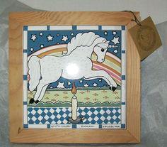 Unicorn Wood Framed Ceramic Tile Wall/Door Hanging Sigma Tastesetters 1983 Tag