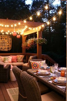 Could string lights under our pergola behind the garage. Savvy Southern Style: Our Cookout and the Deck After Dark Outdoor Rooms, Outdoor Dining, Outdoor Decor, Outdoor Balcony, Outdoor Pergola, Gazebo, Wc Container, Balkon Design, Deck Party