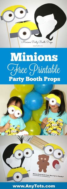 Minions Party Ideas. Print our Free Printable Minion Party Booth props. www.anytots.com