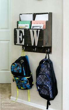 Sick of backpacks on the floor? Learn how to build a DIY Homework and Backpack center. Source by renajorena Bags