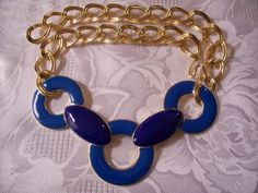 Monet Blue Necklace Gold Tone Vintage Large Pendant Double Link Chain $79 - http://PrettyJewelryThings.com - #monetvintagejewelry #monetbluenecklace #monetgoldlinkchain #monetbluechokernecklace #holidaygifts #christmasgifts