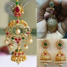Jewellery Designs: Below 20gms Chandbalis and Jhumkas