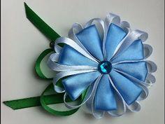 Украшение на заколку Канзаши/Голубой цветочек с сердечками | Цветы из лент, вышивка лентами | Постила