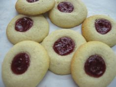 "Raspberry Spritz Cookies. To quote Bernard Black, ""jam jam jam jam"""