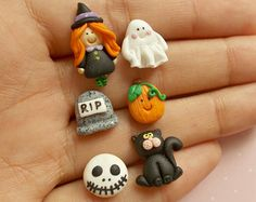 Halloween set of six earrings, Handmade polymer clay three pairs of stud earrings, Witch, ghost, cat, RIP, skull and pumpkin fimo jewelry
