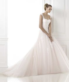 Wishesbridal #Elegant Straps Chapel Train Tulle A Line #WeddingDress Apr0104