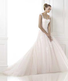 Wishesbridal #Elegant Straps Chapel Train Tulle A Line #WeddingDress Apr0104