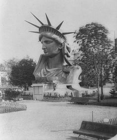 In 1878 her head was put on display at the Paris International Exhibition, where people could climb inside and look out the windows of her crown while her torch was on display in New York.