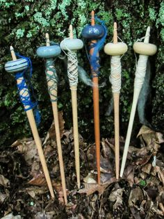 July batch of Viking Oseberg style top-weighted spindles in my Etsy shop.  The plainest unglazed grey is my favorite.