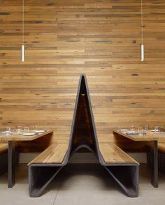 Wood interiors, booth design #design #interiors Bar Agricole / Aidlin Darling Design © Matthew Millman