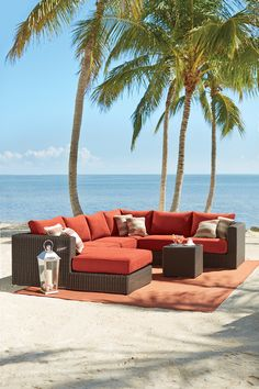 An outdoor sectional seats plenty. This one can be configured to the size and shape you want to fit your outdoor area. #hdcstyleoutside #outdoor2016