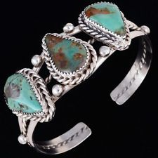 NAVAJO Sterling Silver Three Stone Green Pilot Mountain Turquoise Cuff Bracelet