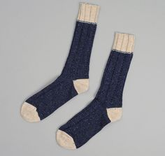 J.S. HOMESTEAD: Country Socks, Navy Tweed