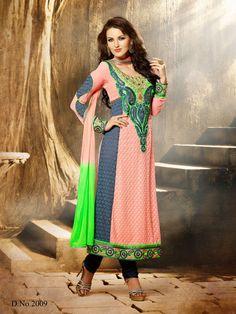 Peach Grey Party Long Salwar Kameez Suit Heavy Embroidery Patch Georgette Suit  #SareeStudio
