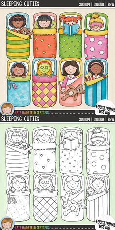 Slumber party kids clip art for teachers! Contains coloured clipart and black and white outlines at 300 dpi for highest quality printing for your resources and projects! Hand-drawn clip art by Kate Hadfield Designs at Teachers Pay Teachers.